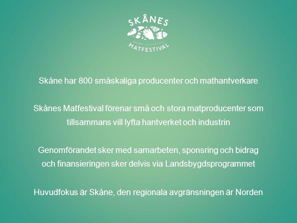 Skånes Matfestival är en unik satsning med fokus på Innovation Interaktivitet Mångfald Kunskapshöjande aktiviteter