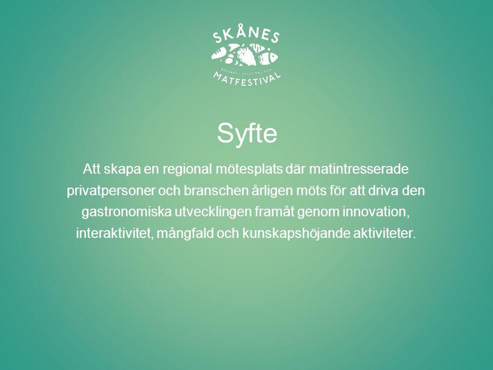 Vision Skånes Matfestival ska vara Nordens mest innovativa matfestival och locka svenska såväl som internationella besökare till Skåne.