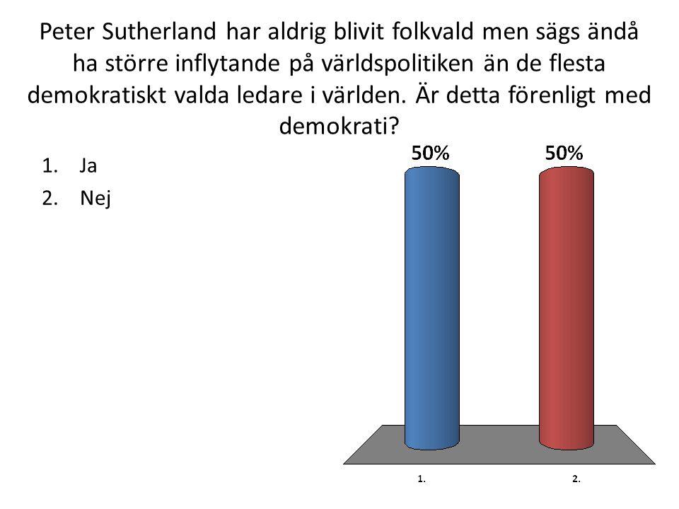 Peter Sutherland har aldrig blivit folkvald men sägs ändå ha större inflytande på världspolitiken än de flesta demokratiskt valda ledare i världen.