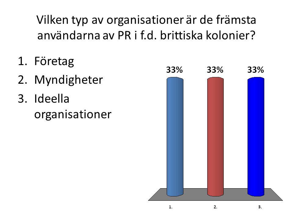 Vilken typ av organisationer är de främsta användarna av PR i f.d.