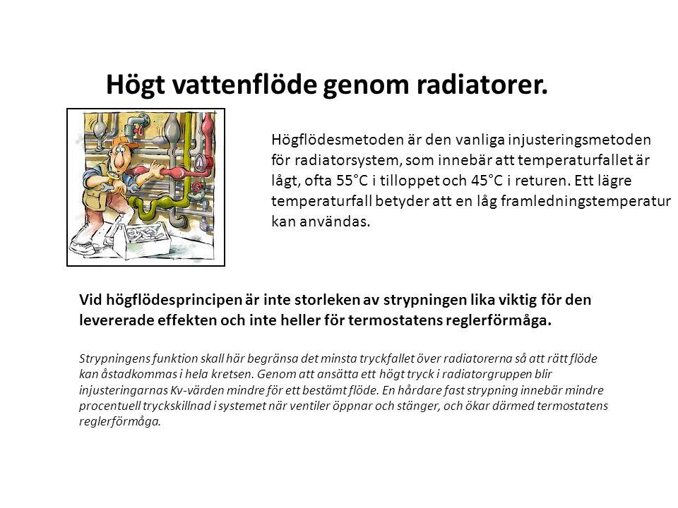 Högt vattenflöde genom radiatorer. Högflödesmetoden är den vanliga injusteringsmetoden för radiatorsystem, som innebär att temperaturfallet är lågt, o