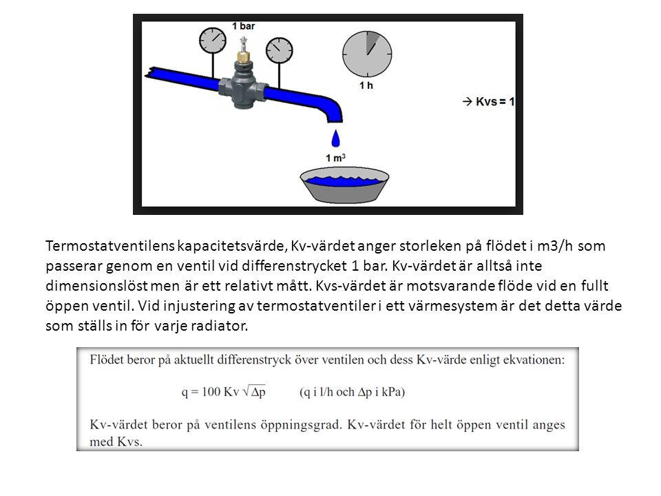 Termostatventilens kapacitetsvärde, Kv-värdet anger storleken på flödet i m3/h som passerar genom en ventil vid differenstrycket 1 bar. Kv-värdet är a
