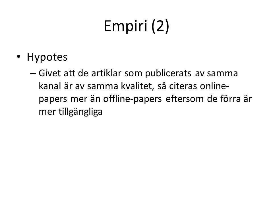 Empiri (2) • Hypotes – Givet att de artiklar som publicerats av samma kanal är av samma kvalitet, så citeras online- papers mer än offline-papers eftersom de förra är mer tillgängliga