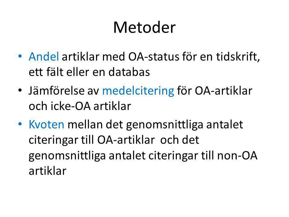 Metoder • Andel artiklar med OA-status för en tidskrift, ett fält eller en databas • Jämförelse av medelcitering för OA-artiklar och icke-OA artiklar • Kvoten mellan det genomsnittliga antalet citeringar till OA-artiklar och det genomsnittliga antalet citeringar till non-OA artiklar