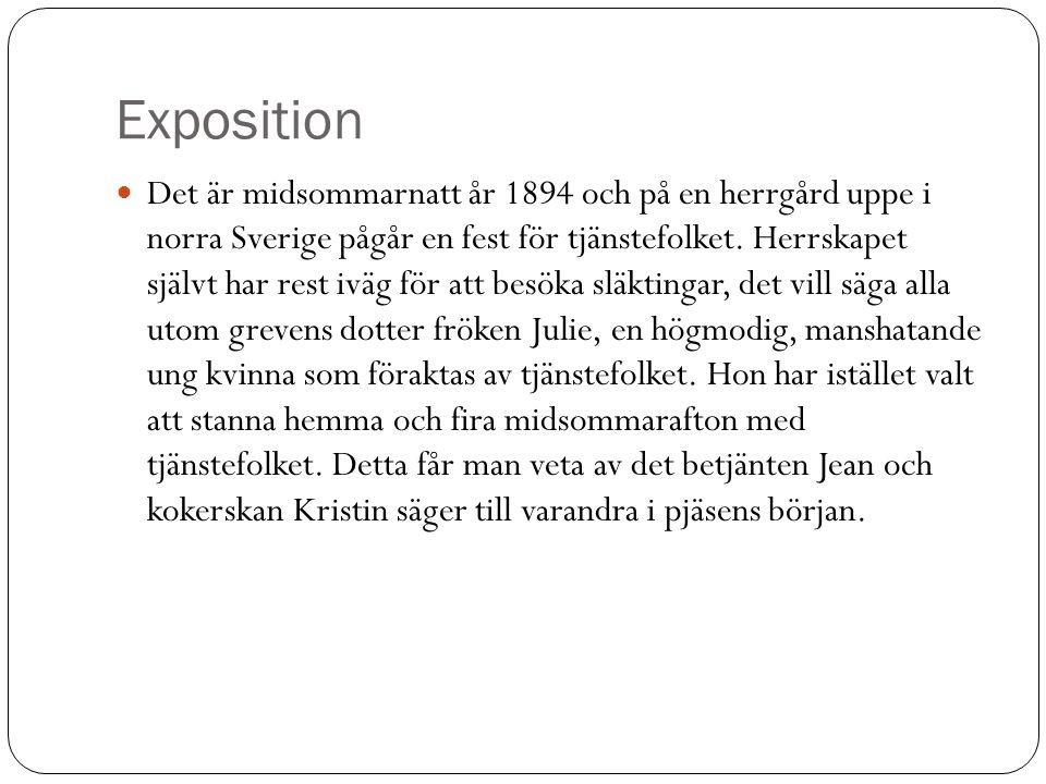 Exposition  Det är midsommarnatt år 1894 och på en herrgård uppe i norra Sverige pågår en fest för tjänstefolket. Herrskapet självt har rest iväg för