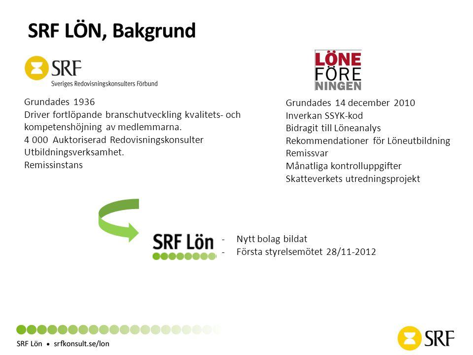 SRF LÖN, Bakgrund -Nytt bolag bildat -Första styrelsemötet 28/11-2012 Grundades 1936 Driver fortlöpande branschutveckling kvalitets- och kompetenshöjn