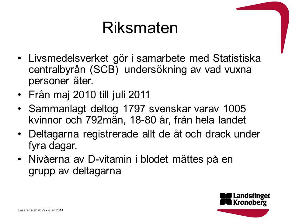 Riksmaten •Livsmedelsverket gör i samarbete med Statistiska centralbyrån (SCB) undersökning av vad vuxna personer äter. •Från maj 2010 till juli 2011