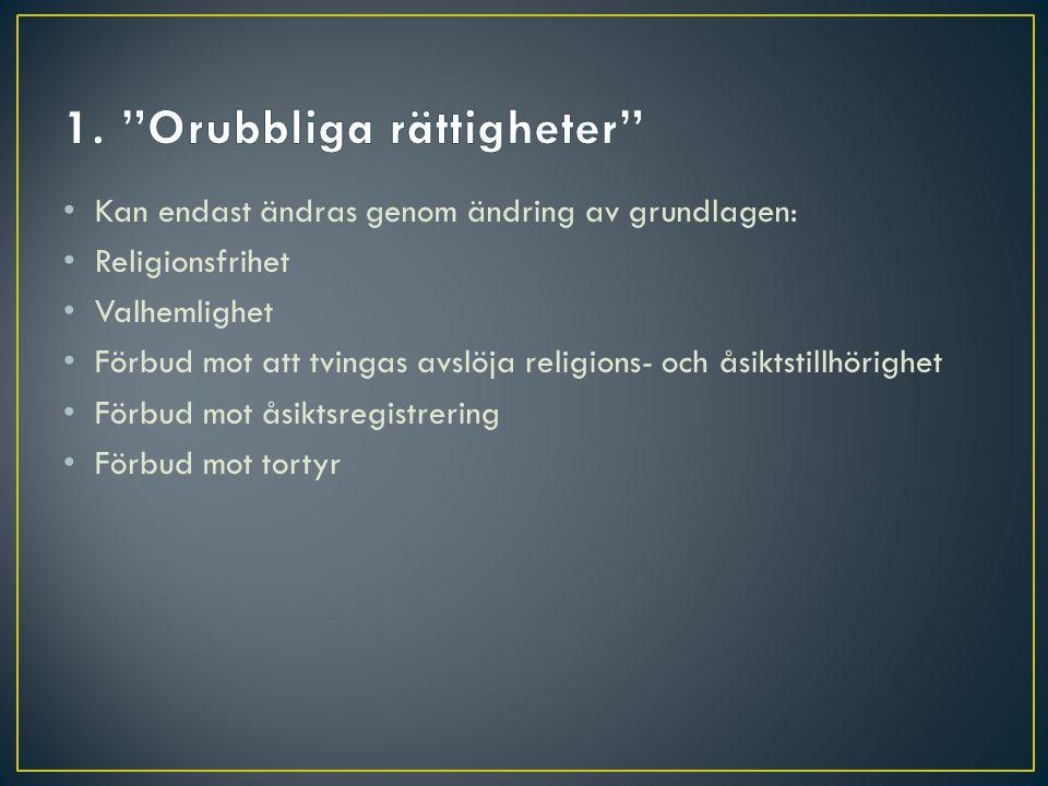 • Kan endast ändras genom ändring av grundlagen: • Religionsfrihet • Valhemlighet • Förbud mot att tvingas avslöja religions- och åsiktstillhörighet •