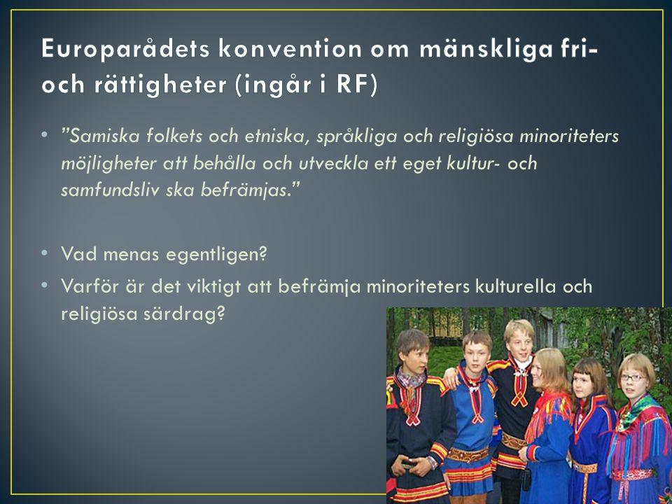 """• """"Samiska folkets och etniska, språkliga och religiösa minoriteters möjligheter att behålla och utveckla ett eget kultur- och samfundsliv ska befrämj"""