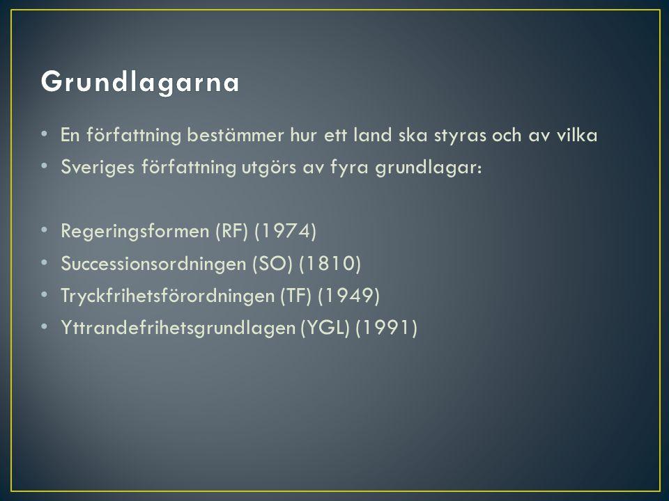 • En författning bestämmer hur ett land ska styras och av vilka • Sveriges författning utgörs av fyra grundlagar: • Regeringsformen (RF) (1974) • Succ