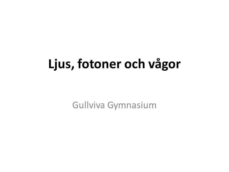 Ljus, fotoner och vågor Gullviva Gymnasium