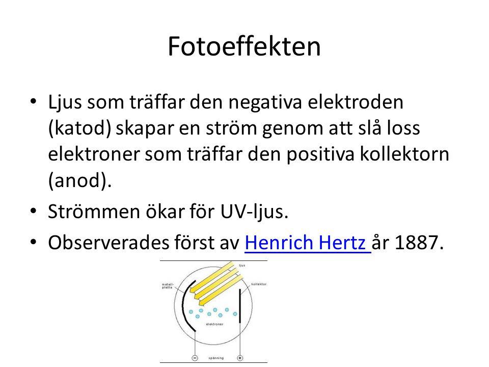 Fotoeffekten • Ljus som träffar den negativa elektroden (katod) skapar en ström genom att slå loss elektroner som träffar den positiva kollektorn (ano