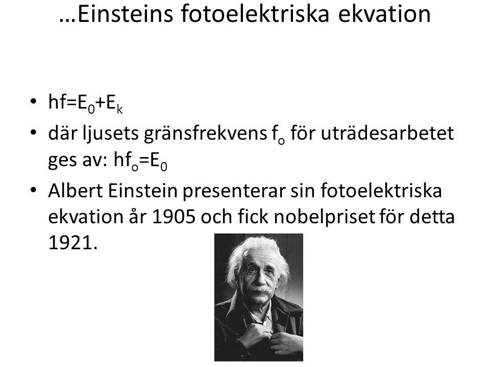 …Einsteins fotoelektriska ekvation • hf=E 0 +E k • där ljusets gränsfrekvens f o för uträdesarbetet ges av: hf o =E 0 • Albert Einstein presenterar si