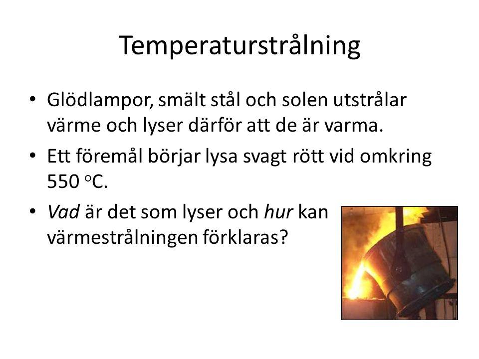Temperaturstrålning • Glödlampor, smält stål och solen utstrålar värme och lyser därför att de är varma. • Ett föremål börjar lysa svagt rött vid omkr