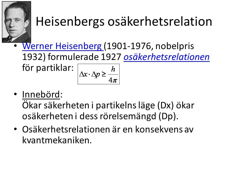 Heisenbergs osäkerhetsrelation • Werner Heisenberg (1901-1976, nobelpris 1932) formulerade 1927 osäkerhetsrelationen för partiklar: Werner Heisenberg