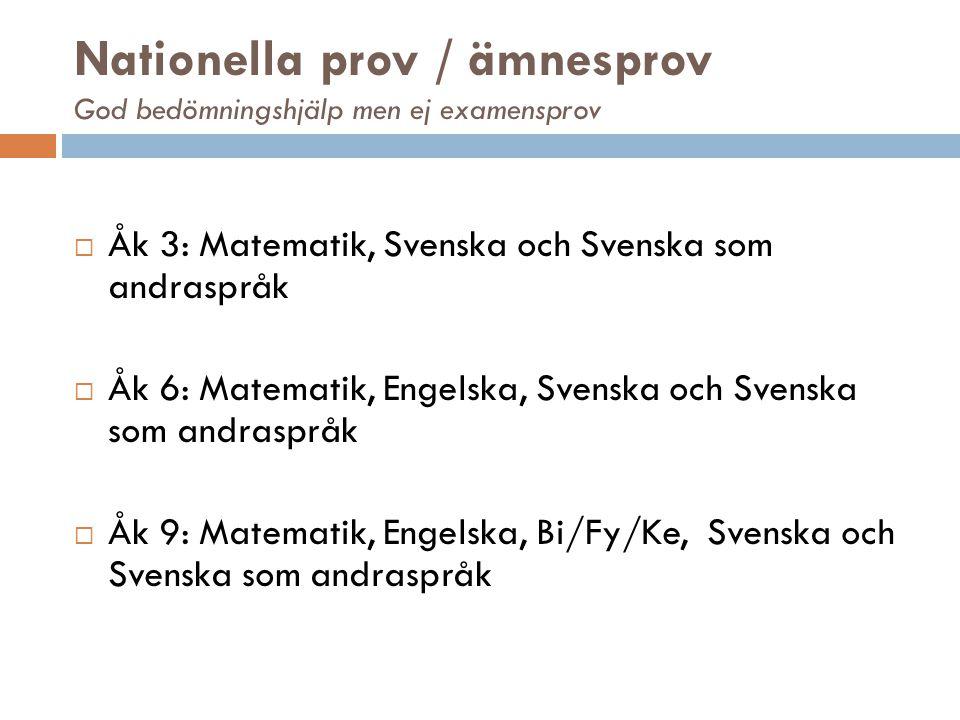 Nationella prov / ämnesprov God bedömningshjälp men ej examensprov  Åk 3: Matematik, Svenska och Svenska som andraspråk  Åk 6: Matematik, Engelska,