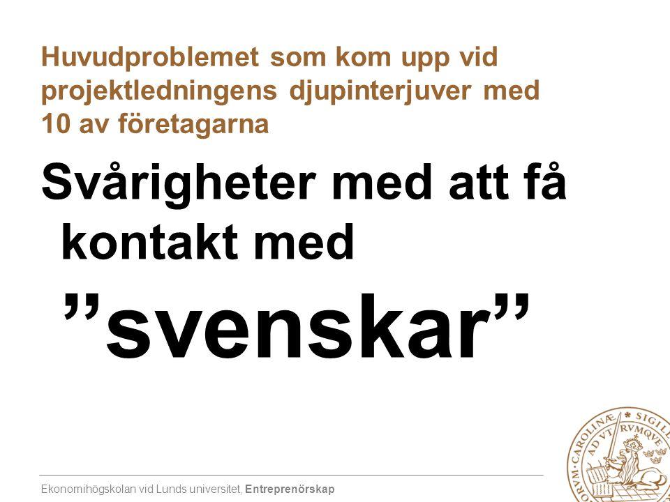 Ekonomihögskolan vid Lunds universitet, Entreprenörskap Huvudproblemet som kom upp vid projektledningens djupinterjuver med 10 av företagarna Svårighe