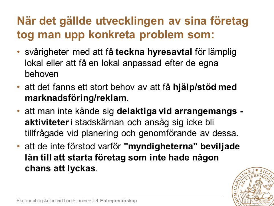 Ekonomihögskolan vid Lunds universitet, Entreprenörskap När det gällde utvecklingen av sina företag tog man upp konkreta problem som: •svårigheter med