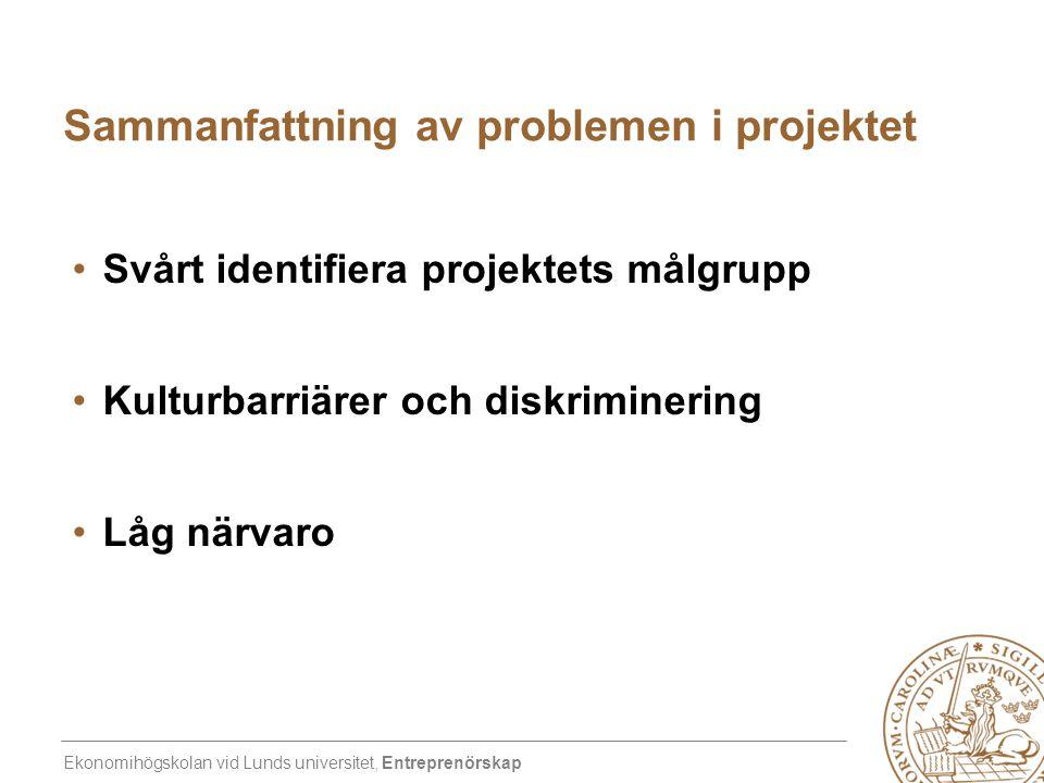 Ekonomihögskolan vid Lunds universitet, Entreprenörskap Sammanfattning av problemen i projektet •Svårt identifiera projektets målgrupp •Kulturbarriäre