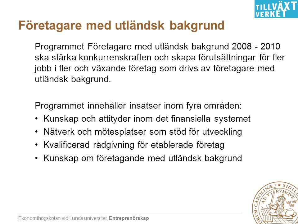 Ekonomihögskolan vid Lunds universitet, Entreprenörskap Företagare med utländsk bakgrund Programmet Företagare med utländsk bakgrund 2008 - 2010 ska s