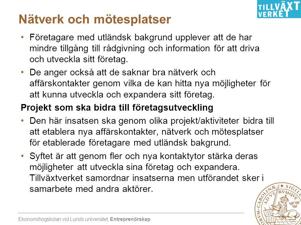 Ekonomihögskolan vid Lunds universitet, Entreprenörskap Nätverk och mötesplatser •Företagare med utländsk bakgrund upplever att de har mindre tillgång