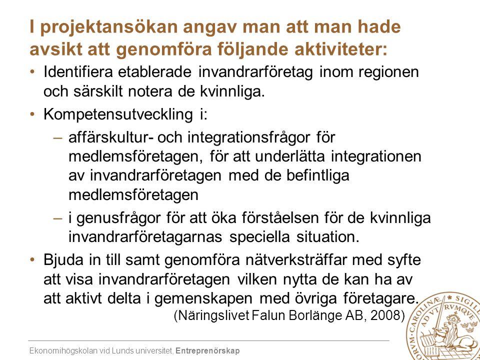 Ekonomihögskolan vid Lunds universitet, Entreprenörskap I projektansökan angav man att man hade avsikt att genomföra följande aktiviteter: •Identifier