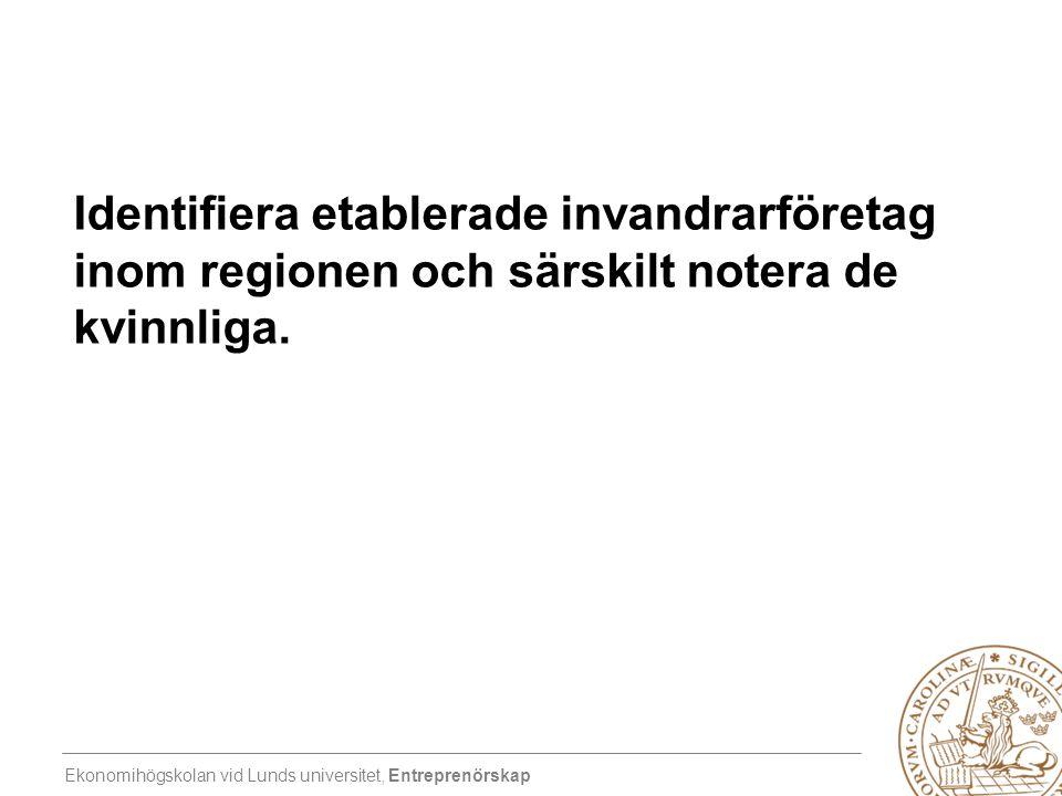 Ekonomihögskolan vid Lunds universitet, Entreprenörskap Identifiera etablerade invandrarföretag inom regionen och särskilt notera de kvinnliga.