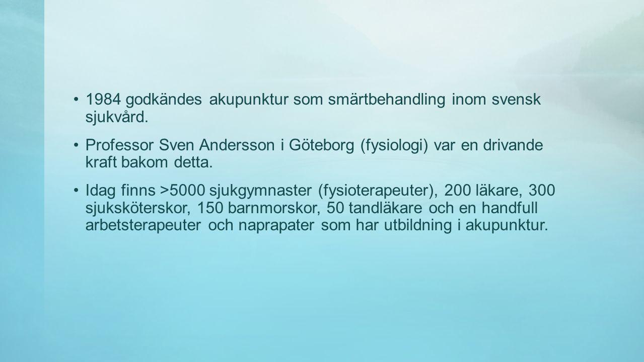 •1984 godkändes akupunktur som smärtbehandling inom svensk sjukvård.