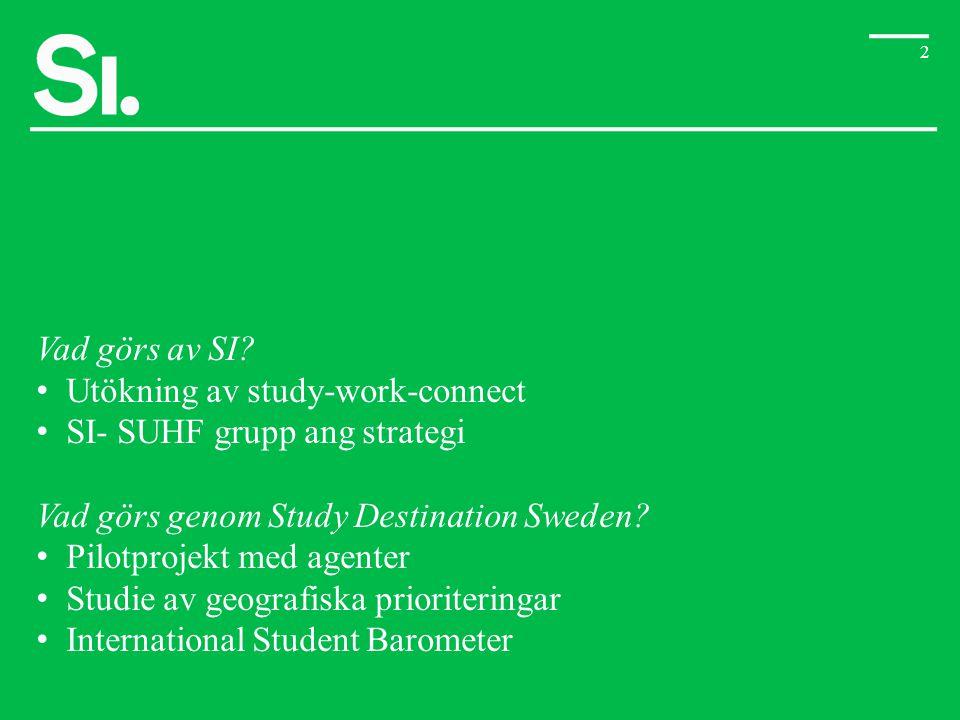 2 Vad görs av SI? • Utökning av study-work-connect • SI- SUHF grupp ang strategi Vad görs genom Study Destination Sweden? • Pilotprojekt med agenter •