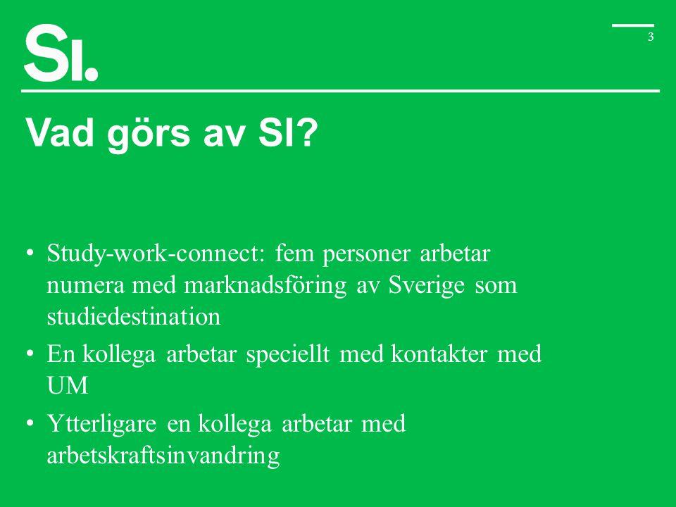 3 Vad görs av SI? • Study-work-connect: fem personer arbetar numera med marknadsföring av Sverige som studiedestination • En kollega arbetar speciellt