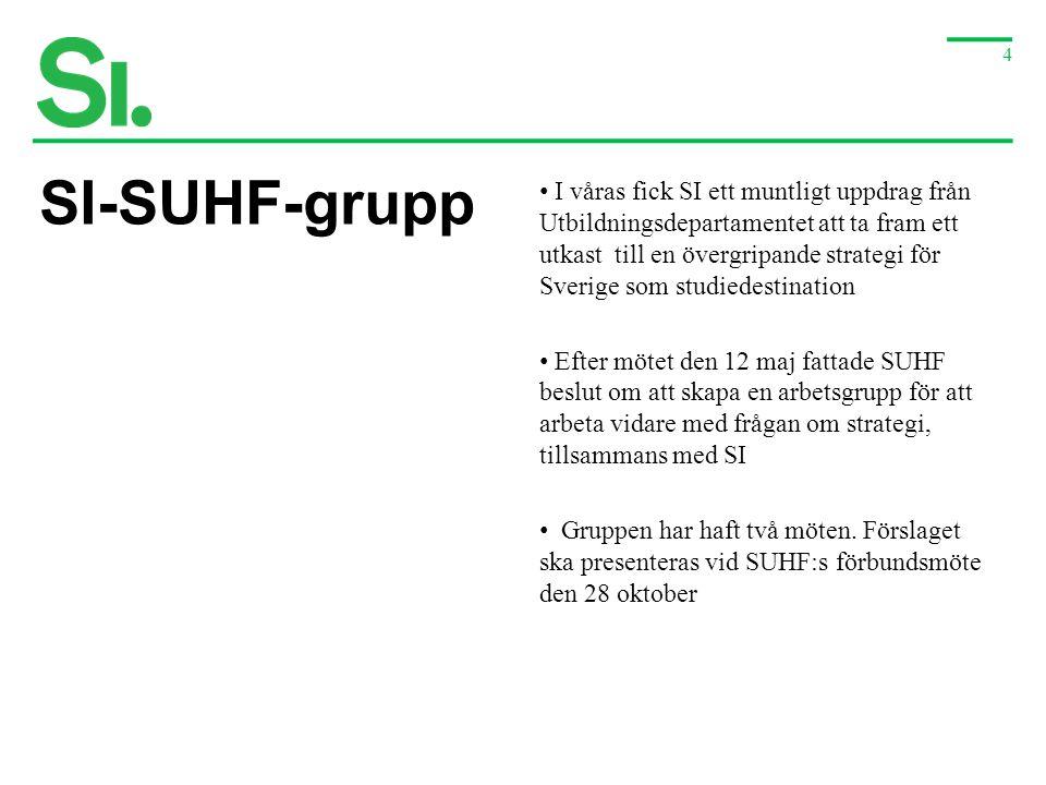 4 SI-SUHF-grupp • I våras fick SI ett muntligt uppdrag från Utbildningsdepartamentet att ta fram ett utkast till en övergripande strategi för Sverige