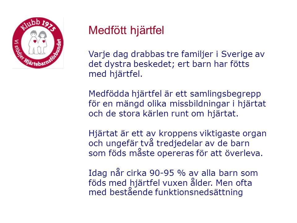 Medfött hjärtfel Varje dag drabbas tre familjer i Sverige av det dystra beskedet; ert barn har fötts med hjärtfel.