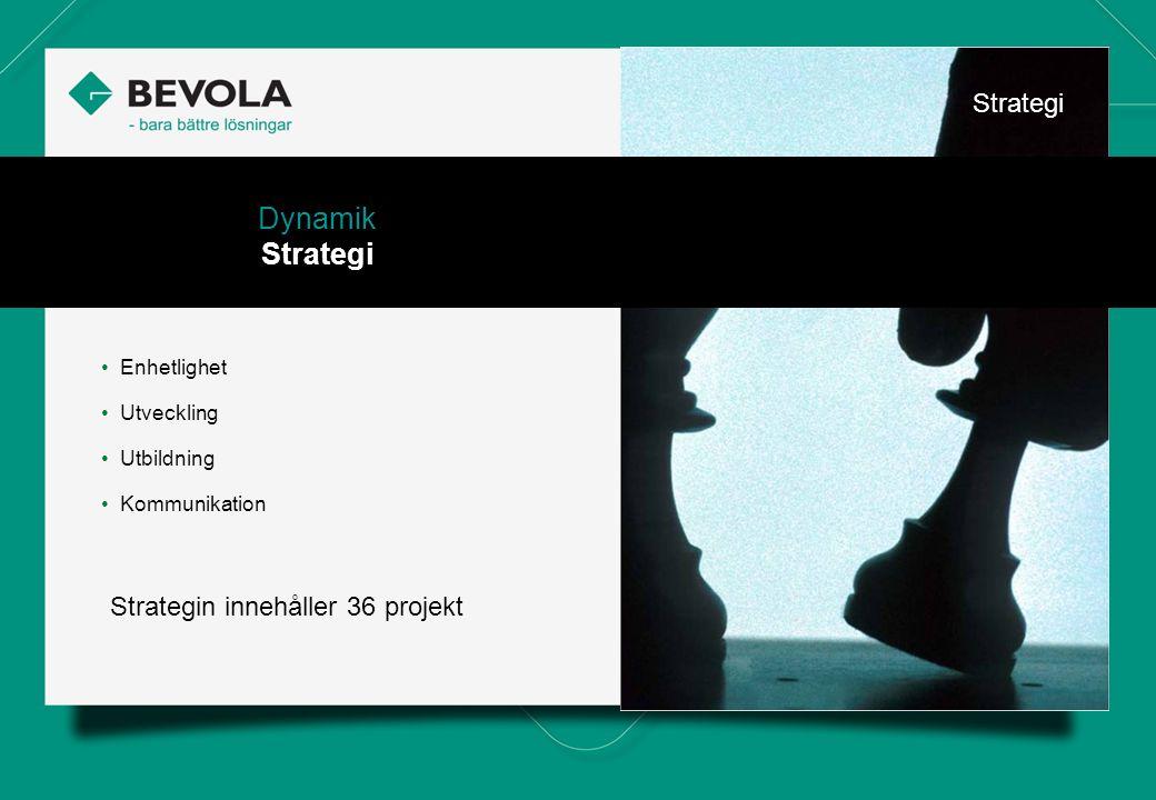 History • Enhetlighet • Utveckling • Utbildning • Kommunikation Dynamik Strategi Strategin innehåller 36 projekt