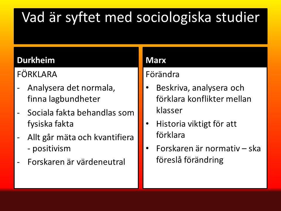 Vad är syftet med sociologiska studier Durkheim FÖRKLARA -Analysera det normala, finna lagbundheter -Sociala fakta behandlas som fysiska fakta -Allt g