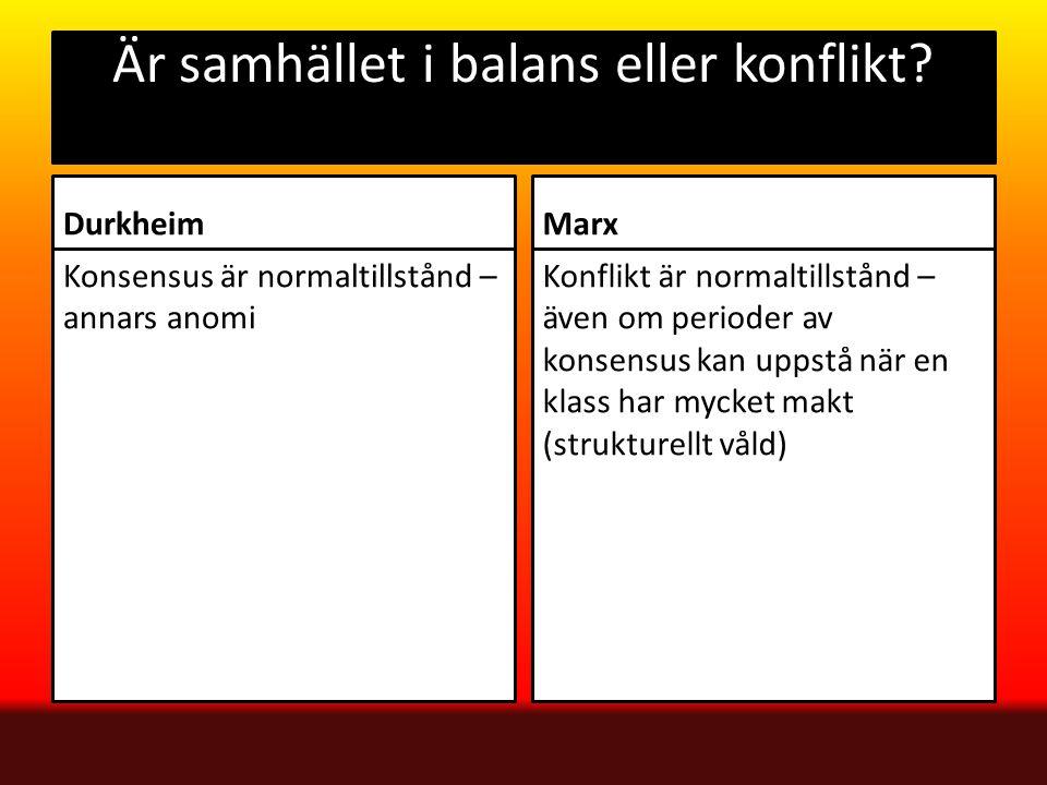 Är samhället i balans eller konflikt? Durkheim Konsensus är normaltillstånd – annars anomi Marx Konflikt är normaltillstånd – även om perioder av kons