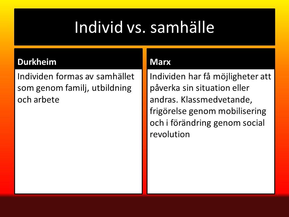 Individ vs. samhälle Durkheim Individen formas av samhället som genom familj, utbildning och arbete Marx Individen har få möjligheter att påverka sin