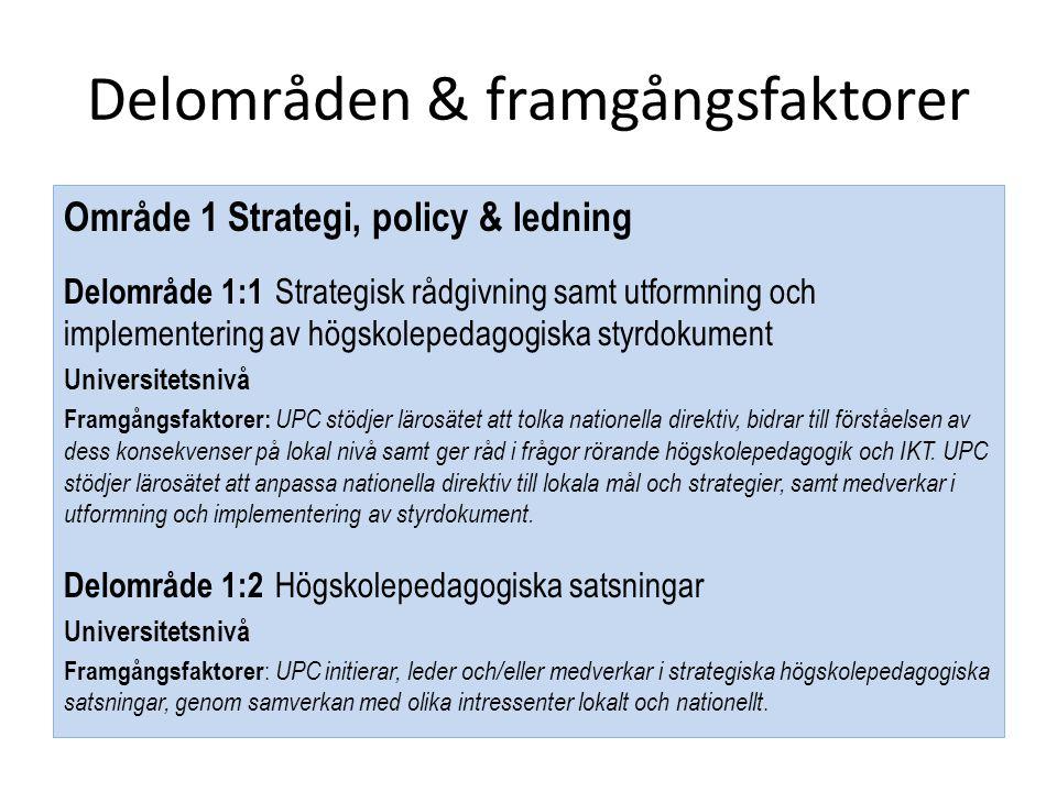 Delområden & framgångsfaktorer Område 1 Strategi, policy & ledning Delområde 1:1 Strategisk rådgivning samt utformning och implementering av högskolep