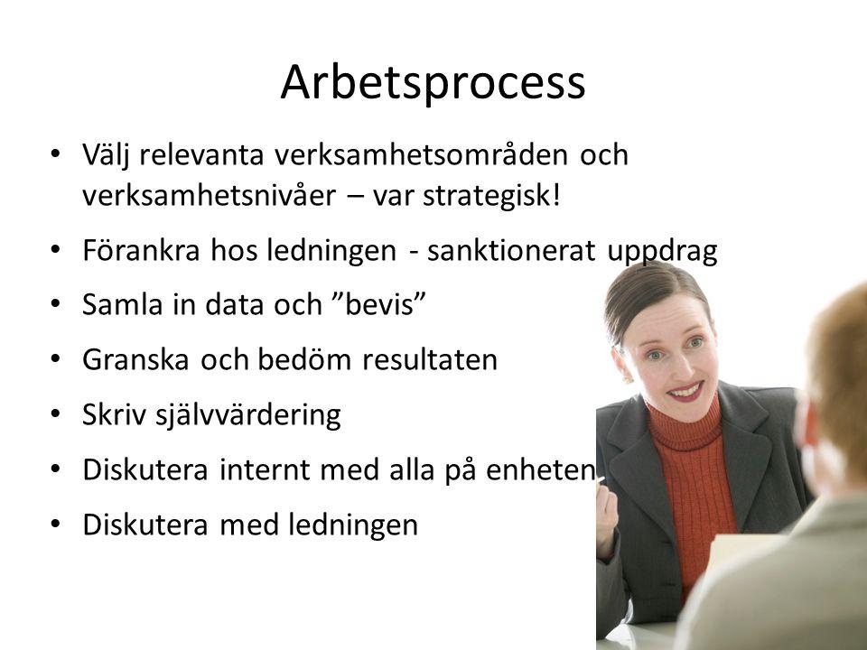 Arbetsprocess • Välj relevanta verksamhetsområden och verksamhetsnivåer – var strategisk! • Förankra hos ledningen - sanktionerat uppdrag • Samla in d