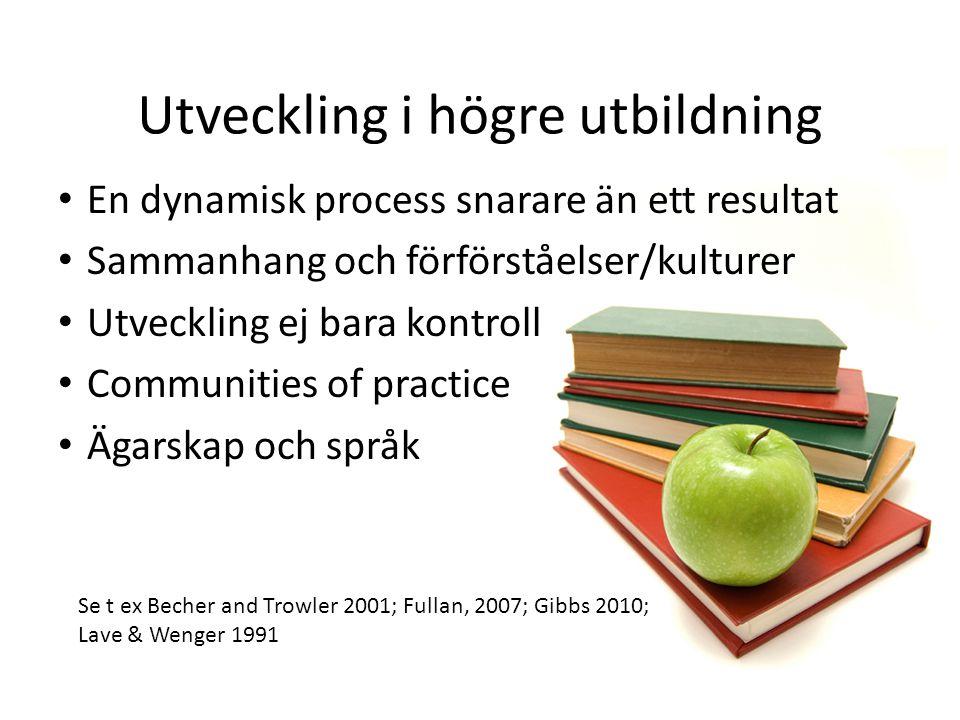 Utveckling i högre utbildning • En dynamisk process snarare än ett resultat • Sammanhang och förförståelser/kulturer • Utveckling ej bara kontroll • C