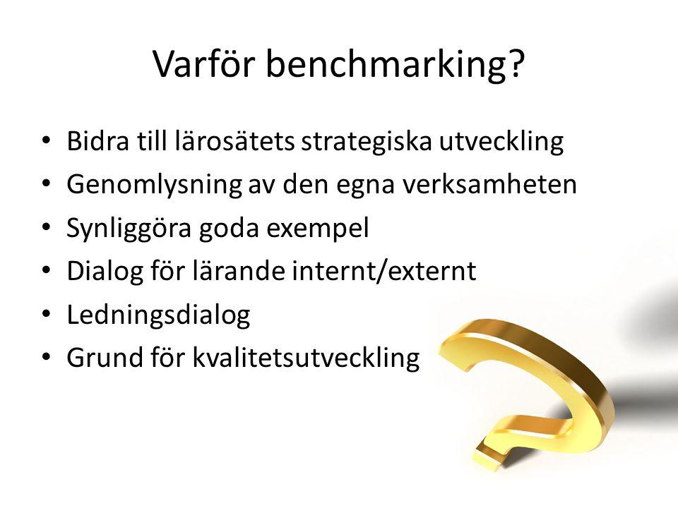 Varför benchmarking? • Bidra till lärosätets strategiska utveckling • Genomlysning av den egna verksamheten • Synliggöra goda exempel • Dialog för lär