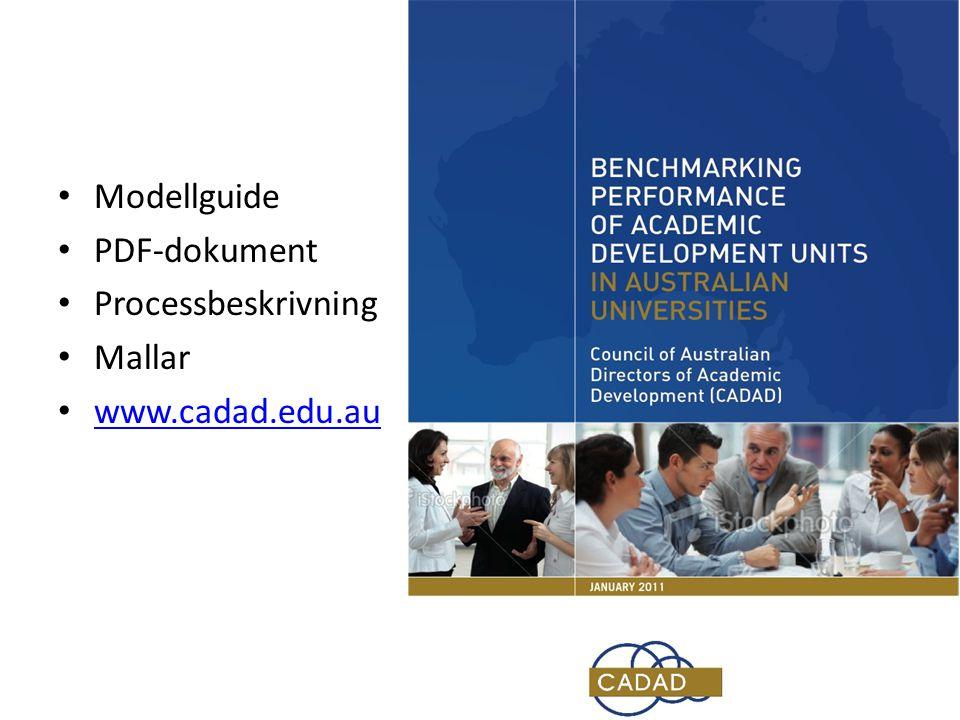 • Modellguide • PDF-dokument • Processbeskrivning • Mallar • www.cadad.edu.au www.cadad.edu.au