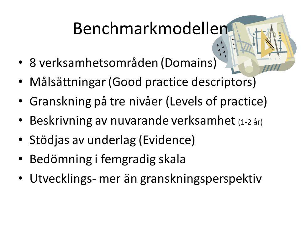 Benchmarkmodellen • 8 verksamhetsområden (Domains) • Målsättningar (Good practice descriptors) • Granskning på tre nivåer (Levels of practice) • Beskrivning av nuvarande verksamhet (1-2 år) • Stödjas av underlag (Evidence) • Bedömning i femgradig skala • Utvecklings- mer än granskningsperspektiv