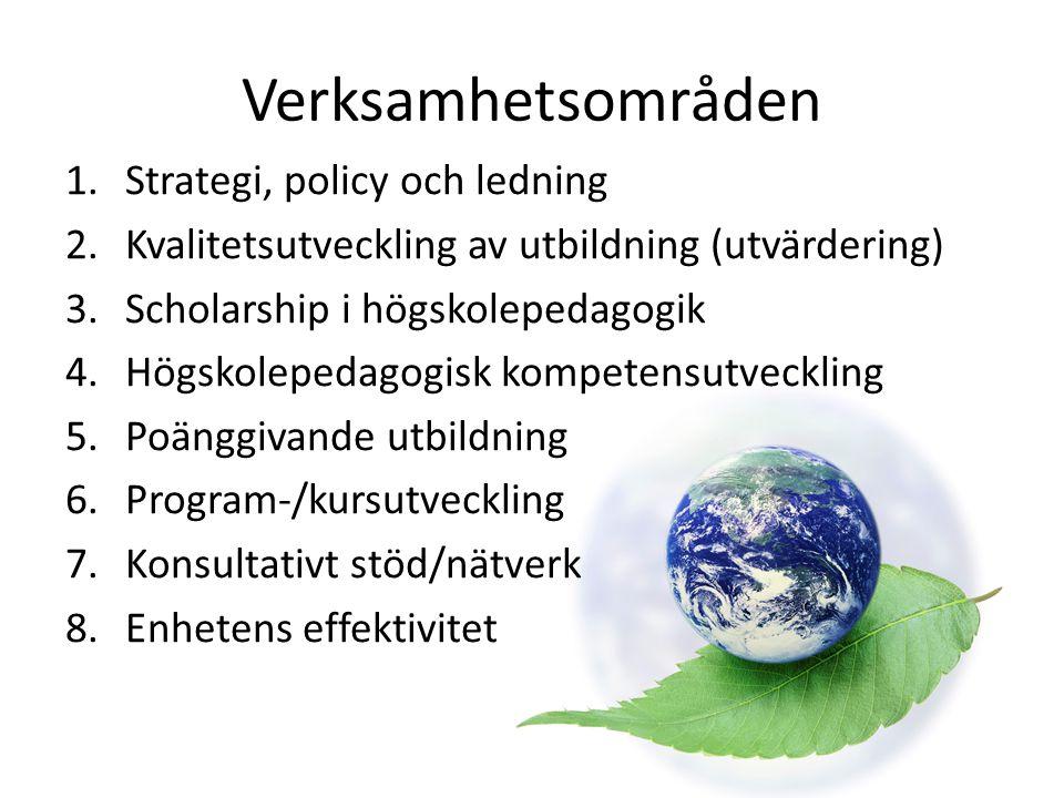 Verksamhetsområden 1.Strategi, policy och ledning 2.Kvalitetsutveckling av utbildning (utvärdering) 3.Scholarship i högskolepedagogik 4.Högskolepedago