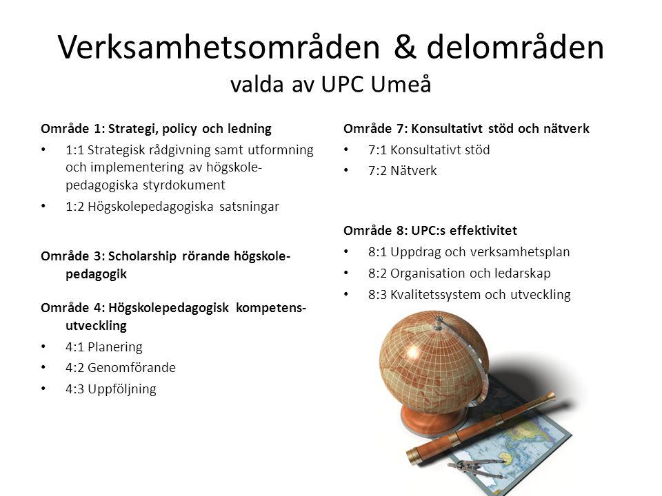 Verksamhetsområden & delområden valda av UPC Umeå Område 1: Strategi, policy och ledning • 1:1 Strategisk rådgivning samt utformning och implementering av högskole- pedagogiska styrdokument • 1:2 Högskolepedagogiska satsningar Område 3: Scholarship rörande högskole- pedagogik Område 4: Högskolepedagogisk kompetens- utveckling • 4:1 Planering • 4:2 Genomförande • 4:3 Uppföljning Område 7: Konsultativt stöd och nätverk • 7:1 Konsultativt stöd • 7:2 Nätverk Område 8: UPC:s effektivitet • 8:1 Uppdrag och verksamhetsplan • 8:2 Organisation och ledarskap • 8:3 Kvalitetssystem och utveckling
