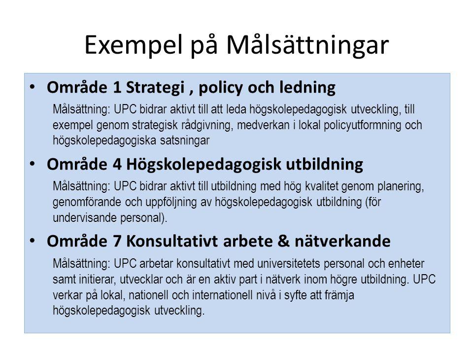 Exempel på Målsättningar • Område 1 Strategi, policy och ledning Målsättning: UPC bidrar aktivt till att leda högskolepedagogisk utveckling, till exem