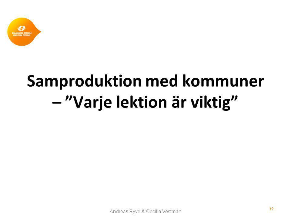 Samproduktion med kommuner – Varje lektion är viktig Andreas Ryve & Cecilia Vestman 10