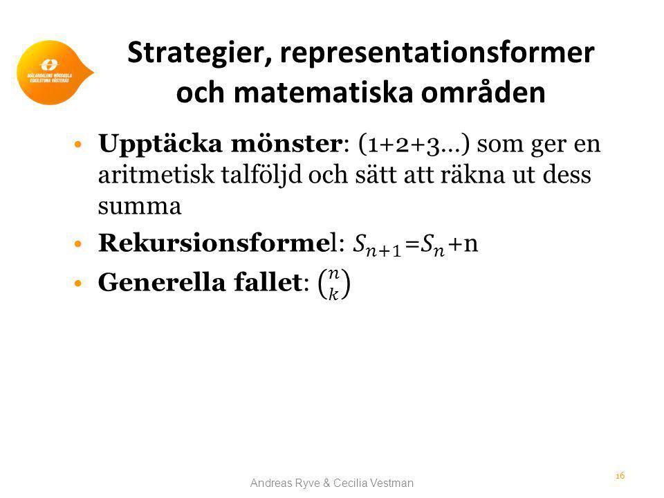 Strategier, representationsformer och matematiska områden Andreas Ryve & Cecilia Vestman 16
