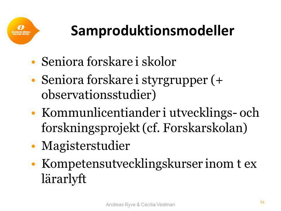 Samproduktionsmodeller •Seniora forskare i skolor •Seniora forskare i styrgrupper (+ observationsstudier) •Kommunlicentiander i utvecklings- och forskningsprojekt (cf.