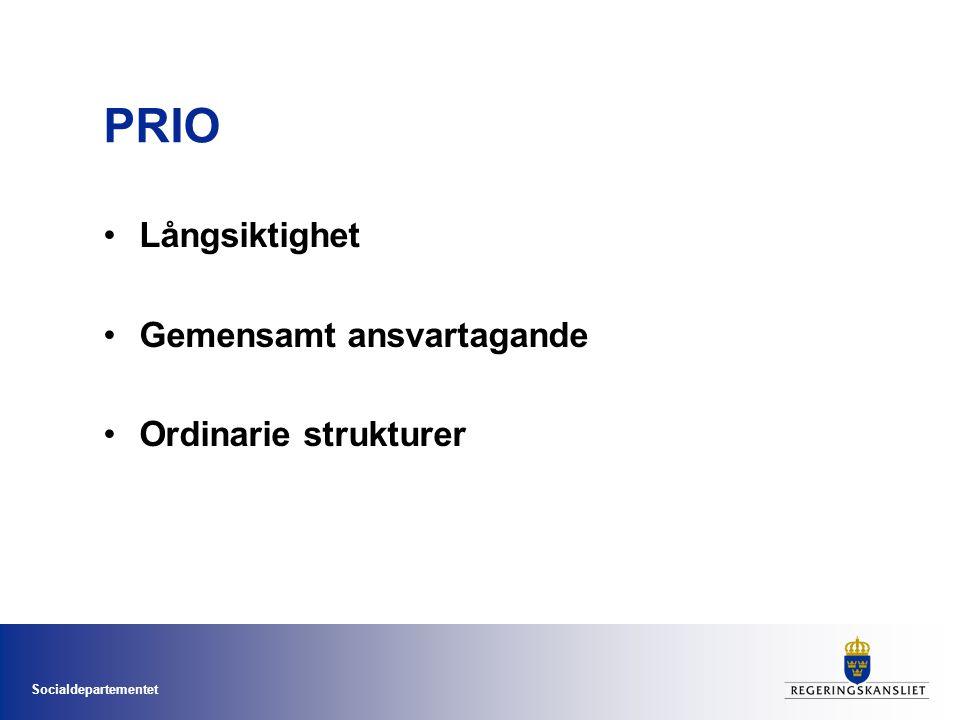 Socialdepartementet PRIO •Långsiktighet •Gemensamt ansvartagande •Ordinarie strukturer