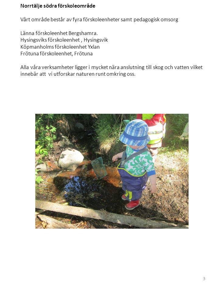 Norrtälje södra förskoleområde Vårt område består av fyra förskoleenheter samt pedagogisk omsorg Länna förskoleenhet Bergshamra.